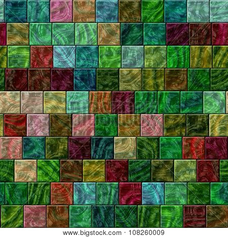 Seamless Colorful Glass Tiles Texture In Saturated Colors