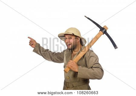 Man with axe isolated on white