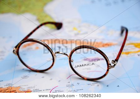 Glasses on a map - Jamaica