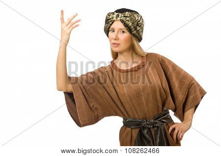 Woman wearing medieval arab clothing on white