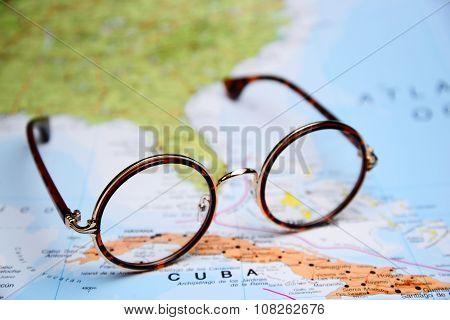 Glasses on a map - Cuba