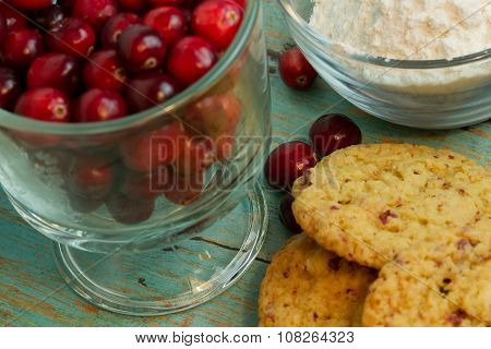 Cranberry White Chocolate Chip Cookies With A Side Of Cranberries