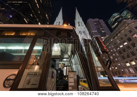 Bus By St. Patrick's Cathedral In New York City