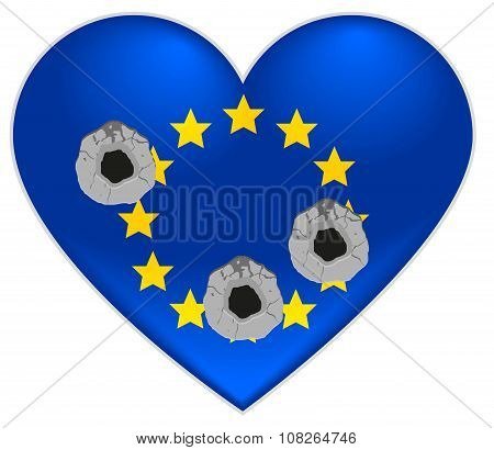 Bullet holes in heart of European Union flag
