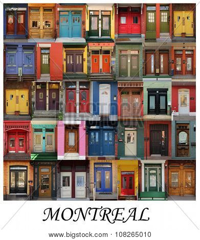 A collage of Montrealer doors, presented in a white border with the city name Montreal.