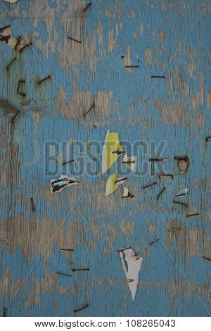 Staples and papers in a grunge blue wall