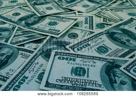 Mount Of Hundred Dollar Banknotes Background Texture Blue Filtered