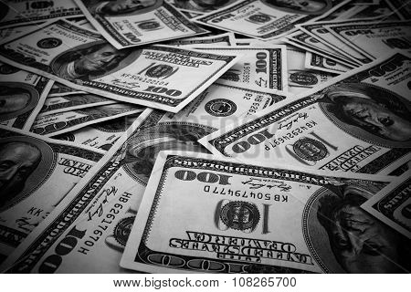 Mount Of Hundred Dollar Banknotes Background Texture Black And White High Contrasted With Vignetting