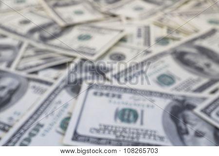 Mount Of Hundred Dollar Banknotes Background Texture Defocused