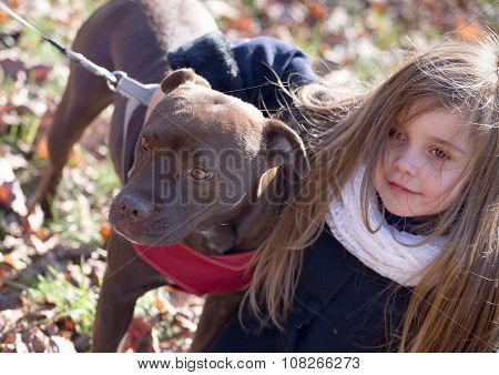 a brown dog on a leash with pink collar being hugged by a little girl