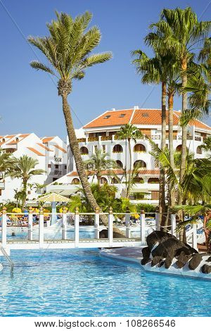 Swimming Pool, Open-air Beach Of Luxury Hotel, Playa De Las Americas, Tenerife, Spain