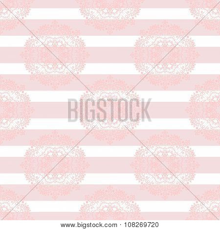 Baby pink mandala subtle striped seamless pattern.