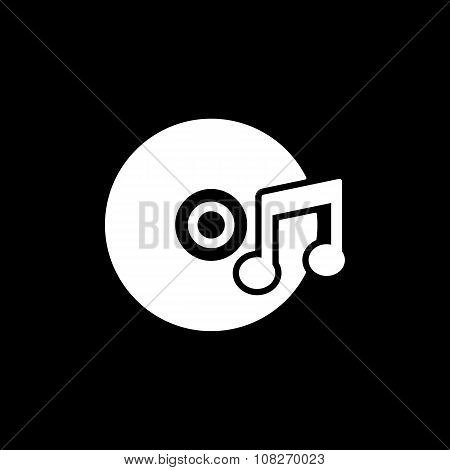 The music icon. Disc symbol. Flat