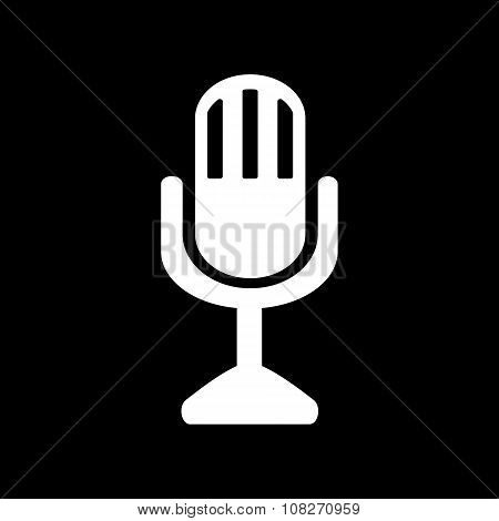 The mic icon. Microphone symbol. Flat