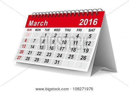 2016 year calendar. March. Isolated 3D image