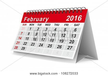 2016 year calendar. February. Isolated 3D image