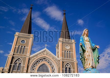 CHANTABURI THAILAND - 29 july 2015 : Old catholic church of Maephra Patisonti Niramon located in Cha