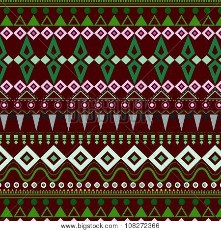 Tribal Ethnic Seamless Stripe Pattern On Red Background