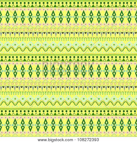 Tribal Ethnic Seamless Stripe Pattern On Yellow Background