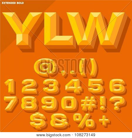 Vector 3D yellow bold beveled symbols and numbers with shadow. Simple colored version.