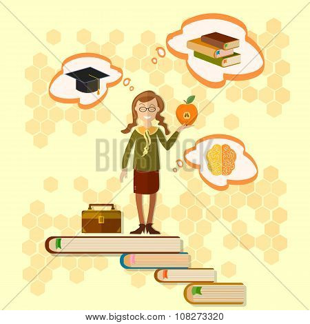 Education Schoolgirl Back To School Power Of Knowledge Education Concept