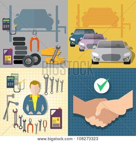 Auto Service Car Service Diagnostics Auto Mechanic Set