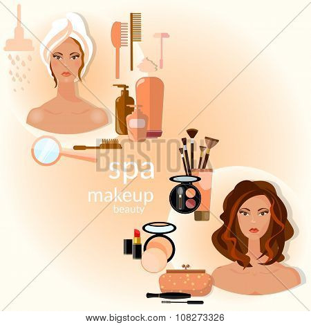 Cosmetics And Make-up Beautiful Woman Face Make-up Artist Vector Illustration