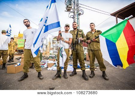Israeli Soldier With National And Druze Flags