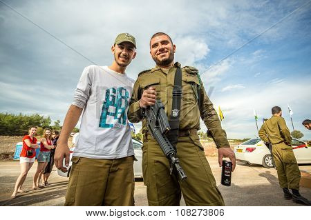 Two Israeli Soldiers Posing To The Photo