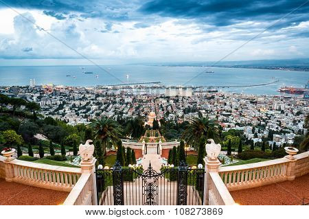 Panorama Of Haifa - Port And Bahai Garden, Israel