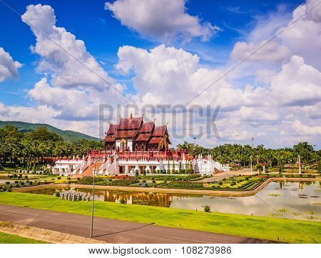 Ho Kham Luang At Royal Park Rajapruek, Traditional Thai Architecture In The Lanna Style, Chiang Mai,