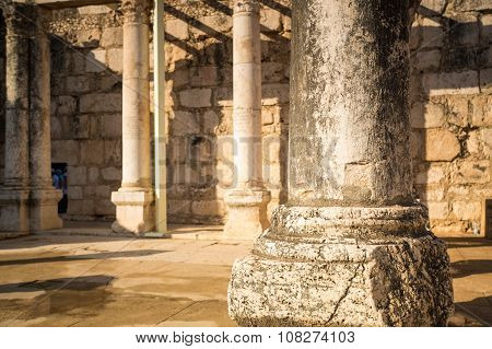 Synagogue In Jesus Town Of Capernaum