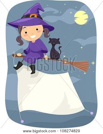 Stickman Illustration of a Little Witch Flying on a Broomstick with a Banner Attached to It