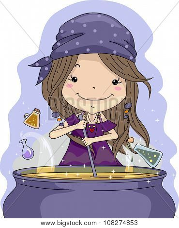 Illustration of a Little Girl Mixing Potions in a Cauldron