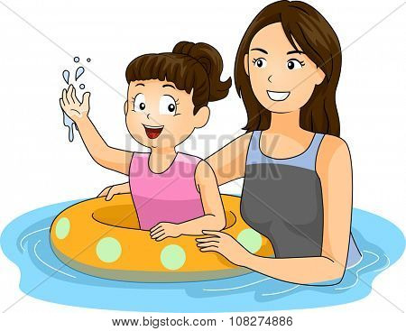 Illustration of a Mother Teaching Her Daughter How to Swim