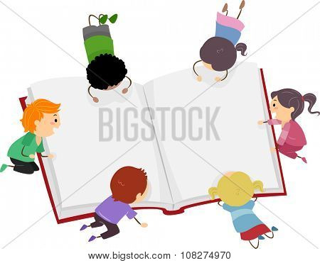 Stickman Illustration of Little Kids Reading a Big Book