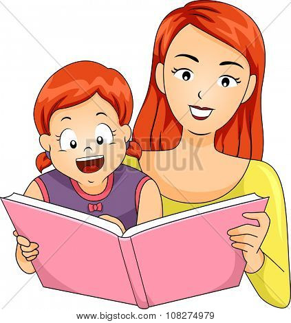 Illustration of a Mother Reading a Storybook to Her Daughter