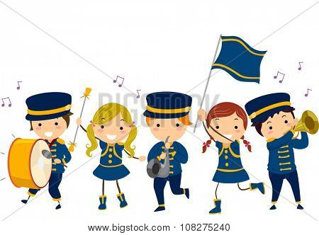 Stickman Illustration of Kids in a Lyre Band Giving a Performance