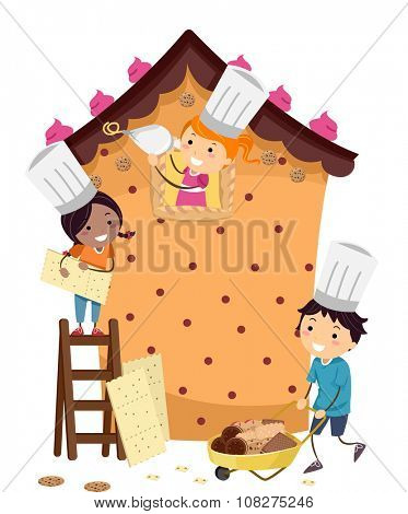 Stickman Illustration of Kids Building a Pastry House