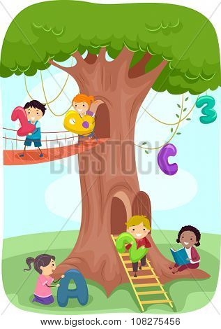 Stickman Illustration of Kids Playing with a Tree