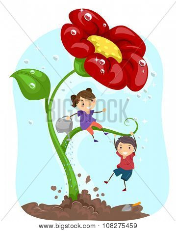 Stickman Illustration of Kids Watering a Giant Flower