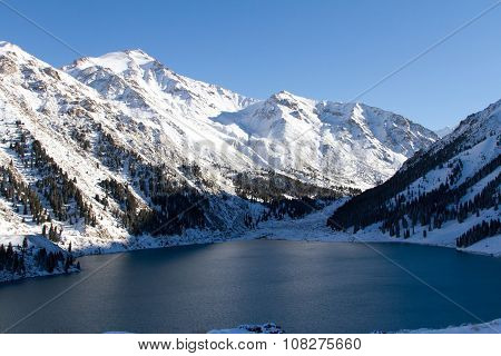 Mountain Lake In The Winter