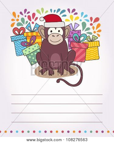 Vector Card With Funny Monkey, Illustration Happy Monkey For Children. Postcard Happy New Year 2016.