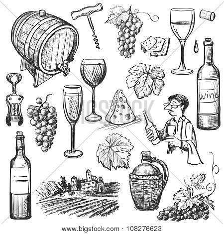 Hand drawn sketch vector wine set