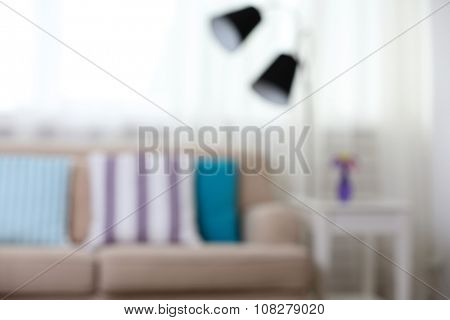 Blurred light living-room interior, close up