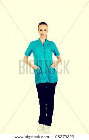 Beautiful smiling caucasian woman doctor.