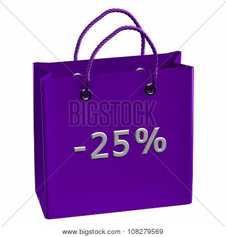 Purple Shopping Bag With Word -25%