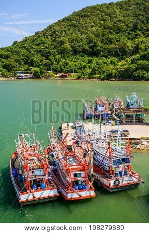 THAILAND CHANTHABURI - JULY 29: Thai wooden fishing boats in harbor on July 29 2015 in Thailand.