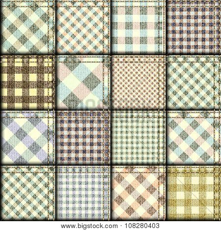 Patchwork of plaid patterns