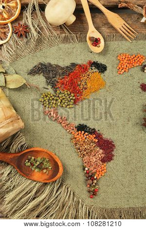Spices on sackcloth background